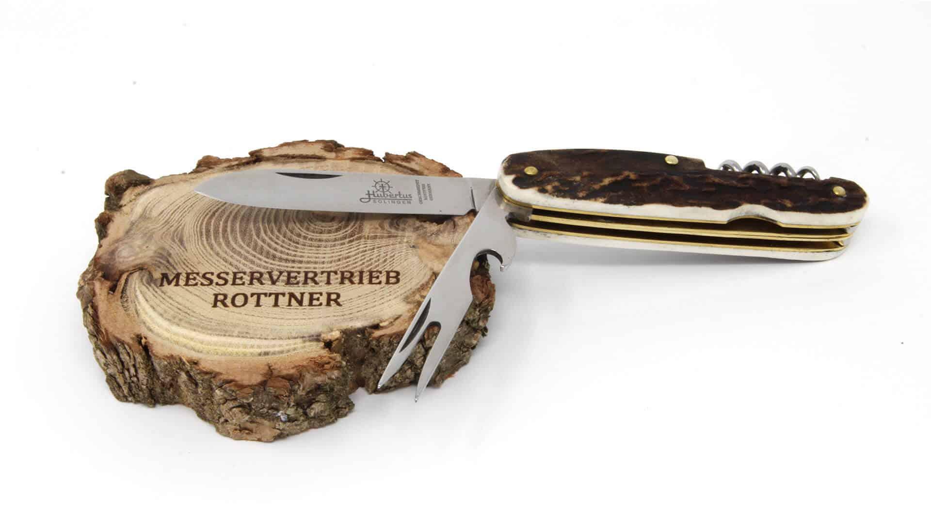 Hubertus Bestecktaschenmesser aufgeklappt Messervertrieb Rottner