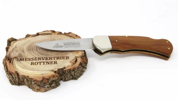 Hubertus Taschenmesser Olivenholz ausgeklappt